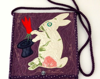 Appliqué White Rabbit and Heart Shoulder Purse/Bag/Pocketbook - free shipping