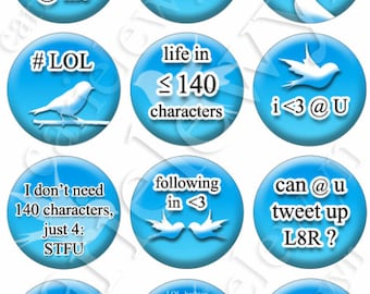 SALE Instant Download Bottlecap Images in the style of TWITTER / hashtag, 140, tweet, trending sayings / Printable Collage 1-Inch Circles