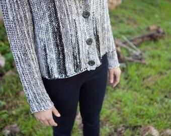 Knitted melange cardigan - Buttoned Jacket