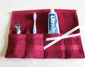 Pinterest Favorite Terrycloth Toothbrush Travel Roll in Burgandy Berry...great little gift....free shipping