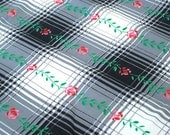 "Vintage Fabric - Black & White Plaid- Roses - 50""L x 36""W - 1950's - Retro - Sewing Material - Craft Supply"