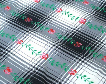 """Vintage Fabric - Black & White Plaid- Roses - 50""""L x 36""""W - 1950's - Retro - Sewing Material - Craft Supply"""