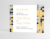 Contemporary wedding invitation Save the Date card, unique modern polka dots design, postcard available, printable invites, any color!