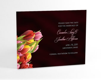 Tulip Save the Date Wedding Announcement Cards Feature Lucious Satin Imagery Background and Bouquet of Spring Tulips