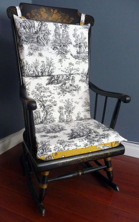 on sale rocking chair cushion french toile. Black Bedroom Furniture Sets. Home Design Ideas