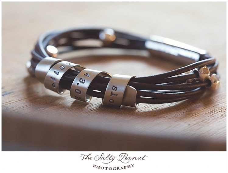 personalized leather bracelet silver and leather bracelet