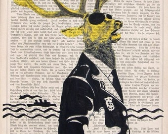 TRAFFIC POLICE  giclee print poster mixed media animal painting wall decor