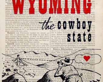 WYOMING print poster mixed media painting illustration typography