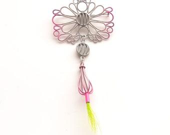 ombre brooch, neon pink to grey, chartreuse deer fur, SALE 50% OFF