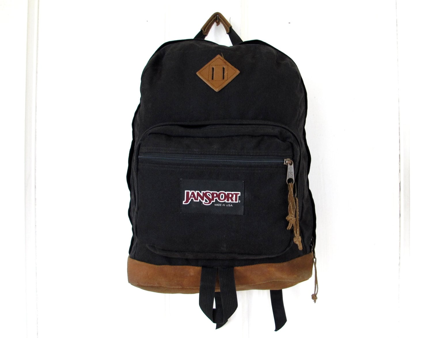90s Black JANSPORT Backpack with Brown Leather Base