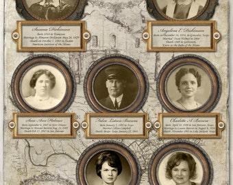 Custom Genealogy Chart - Descendants of the Alamo Defenders