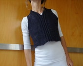 Eco fashion, blue sleeveless top, slip over, vest,  felted wool, natural designer clothing, eco friendly clothing, funky women's clothing