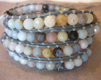 Leather Wrap Beaded Bracelet -  Multi Color Faceted Amazonite Beads - Gray Leather Cord - Vintage Silver Button