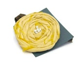 Lemon Spring  Brooch Womens Yellow Silk Jewellery Pin Bag Coat Accessory Daffodil Lemon Chiffon