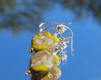 Lampwork heart earrings, yellow and blue hearts, heart earrings, valentine earrings, dangle earrings