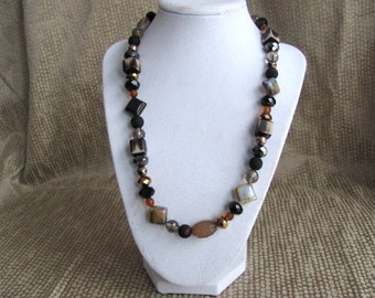 Sparkling Gold Black and Beige Beaded Necklace