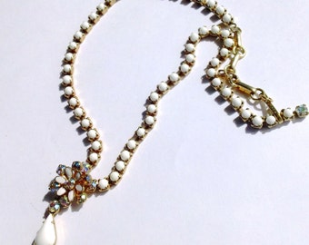 Coro White Rhinestone Necklace Vintage Bridal Wedding Jewelry Retro Party Jewelry