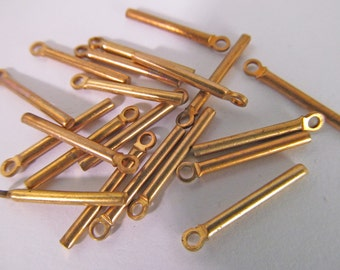 30 Vintage 17mm Skinny Brass Stick Pendants Pd325