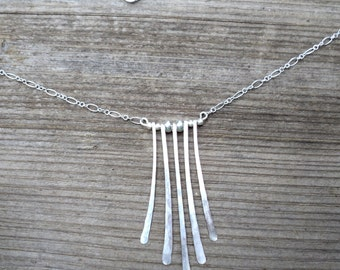 """Hammered sterling silver fan necklace with five long hand-hammered """"dangles"""". Womens hammered silver necklace."""