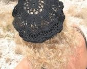 Crochet Pattern 075 - Crochet Hat Pattern - Hat Crochet Pattern for Crochet Lace Beret Alena - Adult Slouchy Hat Lace Hat Girls Ladies Women