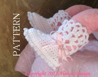 Crochet Pattern 029 - White Lace Top Booties -  Baby Booties - Toddler - Baby Boy - Baby Girl - Winter Booties - White Booties - Slippers