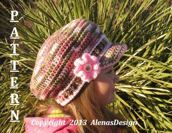 Crochet Pattern 072 - Newsboy Hat - Pink CAMO - Visor Slouchy Hat Toddler Child Teen Adult Beret Spring Autumn Girls Boys Ladies Men Unisex