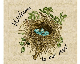 Welcome Spring Nest Blue eggs graphic download image for iron on fabric transfer burlap decoupage pillows cards scrapbook No. 1817