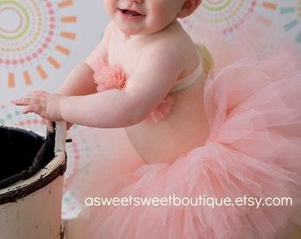 Peach Tutu With Top Peach Baby Girl Tutu Peach Tutu Set Tutu And Headband Tutu Top Cake Smash Tutu Sitter Session Photo Prop Baby Girl Tutu