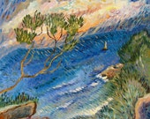 Yacht, seascape - original painting, tranquility, calm ocean, sunny day, surf, impressionism, fauvism.