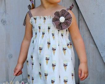 Ice Cream Social Sundress - Girls Ice Cream Cone Summer Shirred Sundress