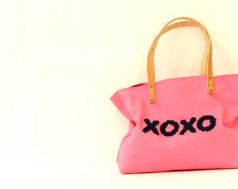 """Canvas Tote...""""XOXO""""  Honeysuckle Pink tote bag with PERSONALIZED leather label"""