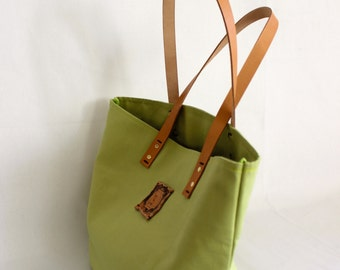 Canvas Tote... SPECIALIZED LABEL... Petite AVOCADO tote bag
