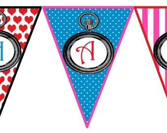 Instant Download Alice in Wonderland Party Printable Birthday Banner