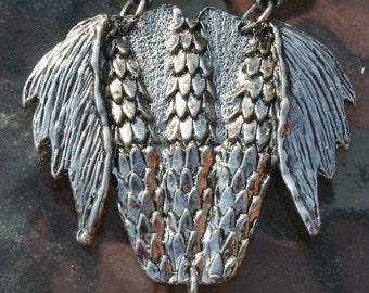 Owl Pendant Silver Blue Eyes