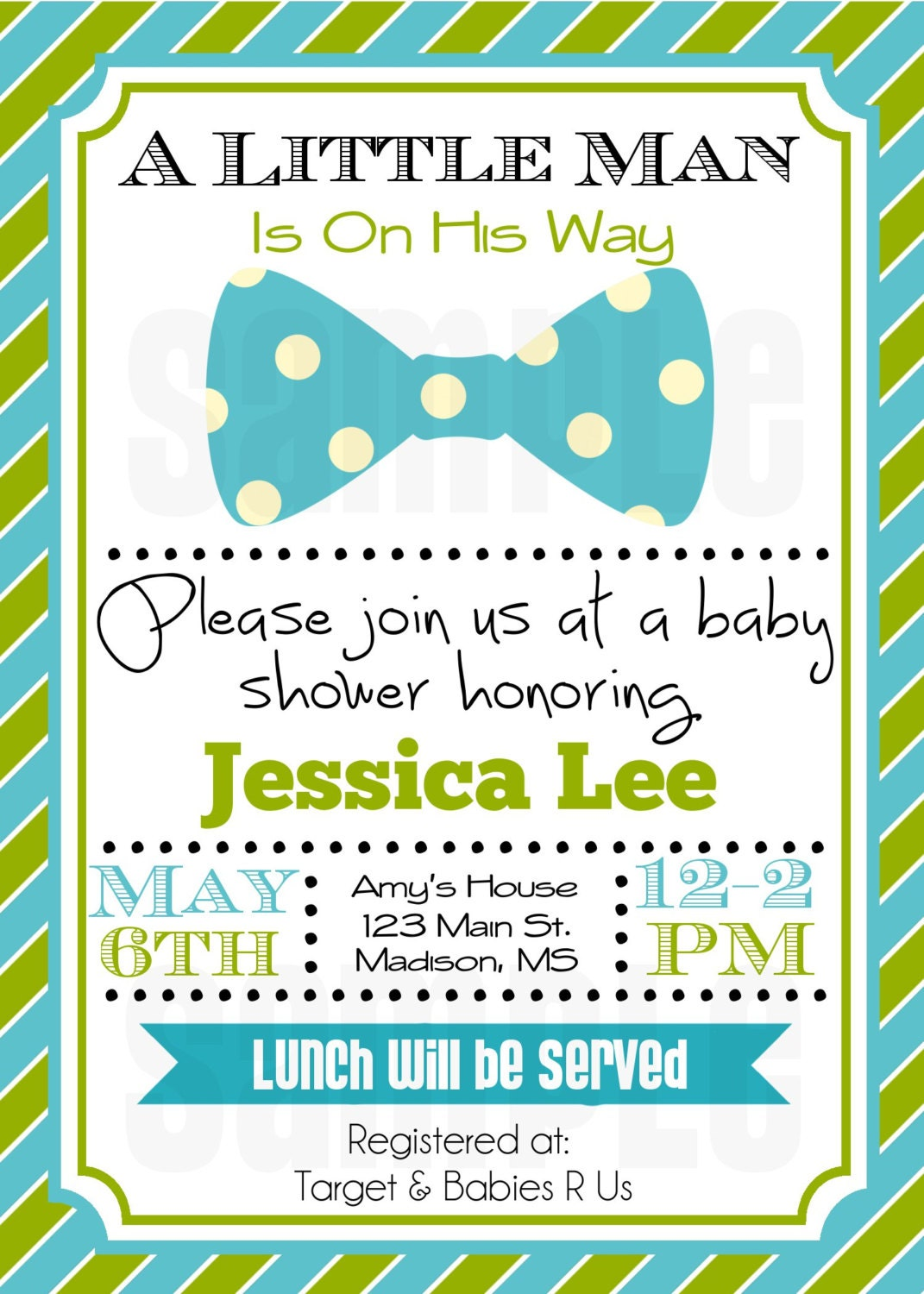Little Man Baby Shower Invitation Baby Boy Shower Invitation