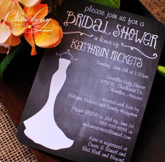 PRINTED Chalkboard Bridal Shower Invitations