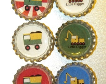 Rough and Tumble Trucks Bottlecap Magnet 6-Pack No. 1