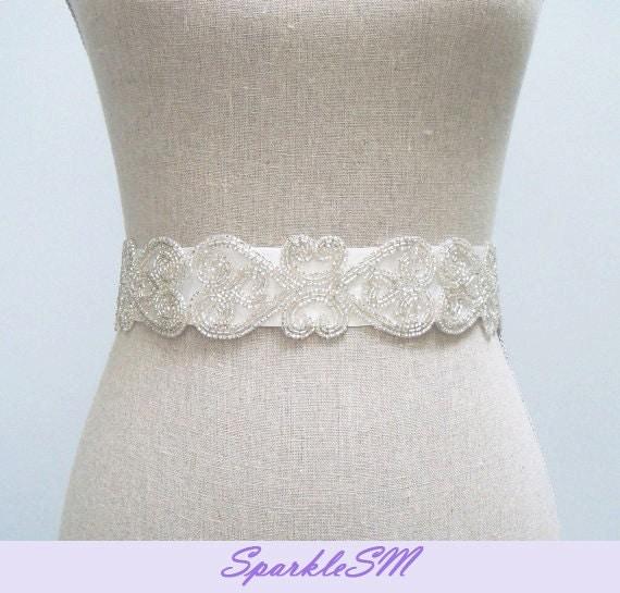 Wedding Belt, Beaded Dress Sash, Bridal Sash, Bridal Belt, Jeweled Bridal Belt, Wedding Dress Sashes, Beaded Bridal Belt, Rhinestone Sash
