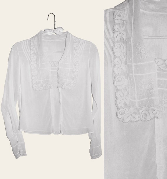Vtg 40s- Sheer COTTON Handmade BLOUSE One-of-a-kind with LACE Collar and Pintucks