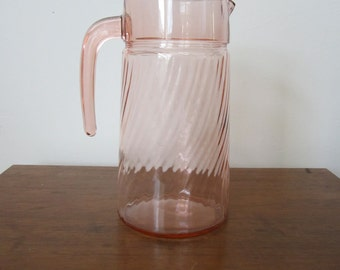 Vintage Pink Swirl Glass Pitcher From France