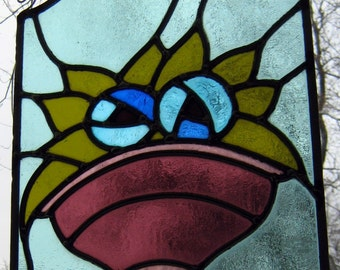 STAINED GLASS window PANEL - Part of retro kitchen cabinet door