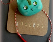 Clay cat brooch,cat pin,turquoise cat