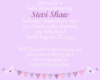 Purple and Teal Baby Shower Invitation (set of 20 invites)