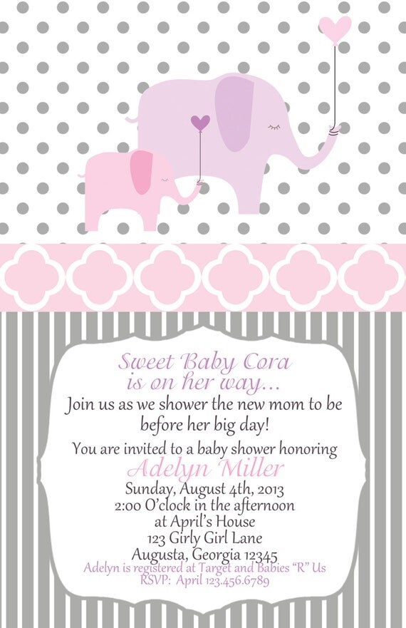 Elephant Baby Shower Invitation set of 20 invites