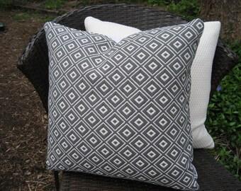 "Zippered Pillow Cover--18"" Grey and Ivory Diamond Geometric Decorator Fabric"