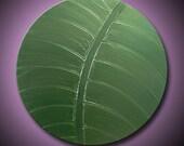 "Green Painting Leaf Abstract Acrylic Metallic Green - Simply Beautiful - 20"" Round High Quality Original Impasto Modern Fine Art"