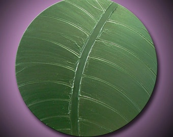 "Painting Green Leaf Abstract Acrylic Metallic Green Simply Beautiful 20"" Round High Quality Original Impasto Modern Fine Art"