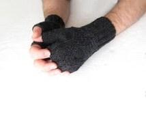 Gray hand knit mitts men fingerless gloves black unisex gift dark gray merino wool geometric gift teen