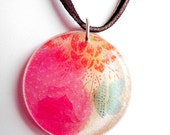 Multicolored Floral Resin Pendant Necklace Butterfly Leather Cord Sterling Silver