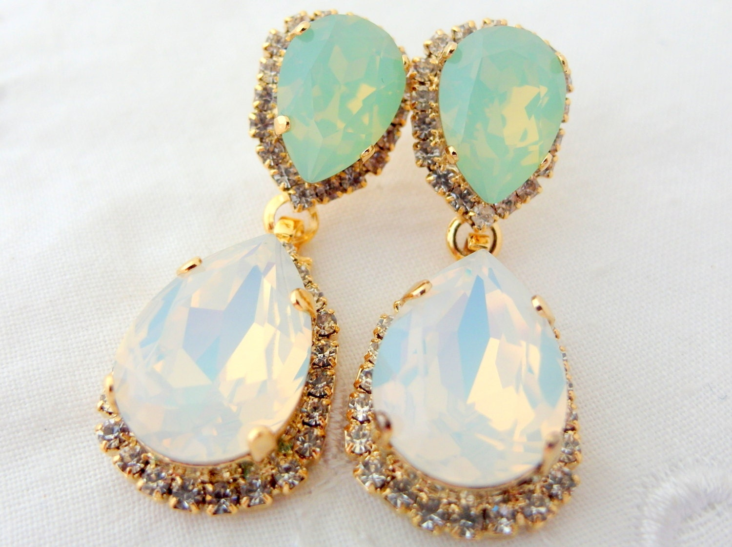 White opal mint Chandelier earringsopal bridal earringsmint